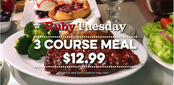 ruby tuesday 3 course meal for 12 99 thru 12 20 16 ruby tuesday